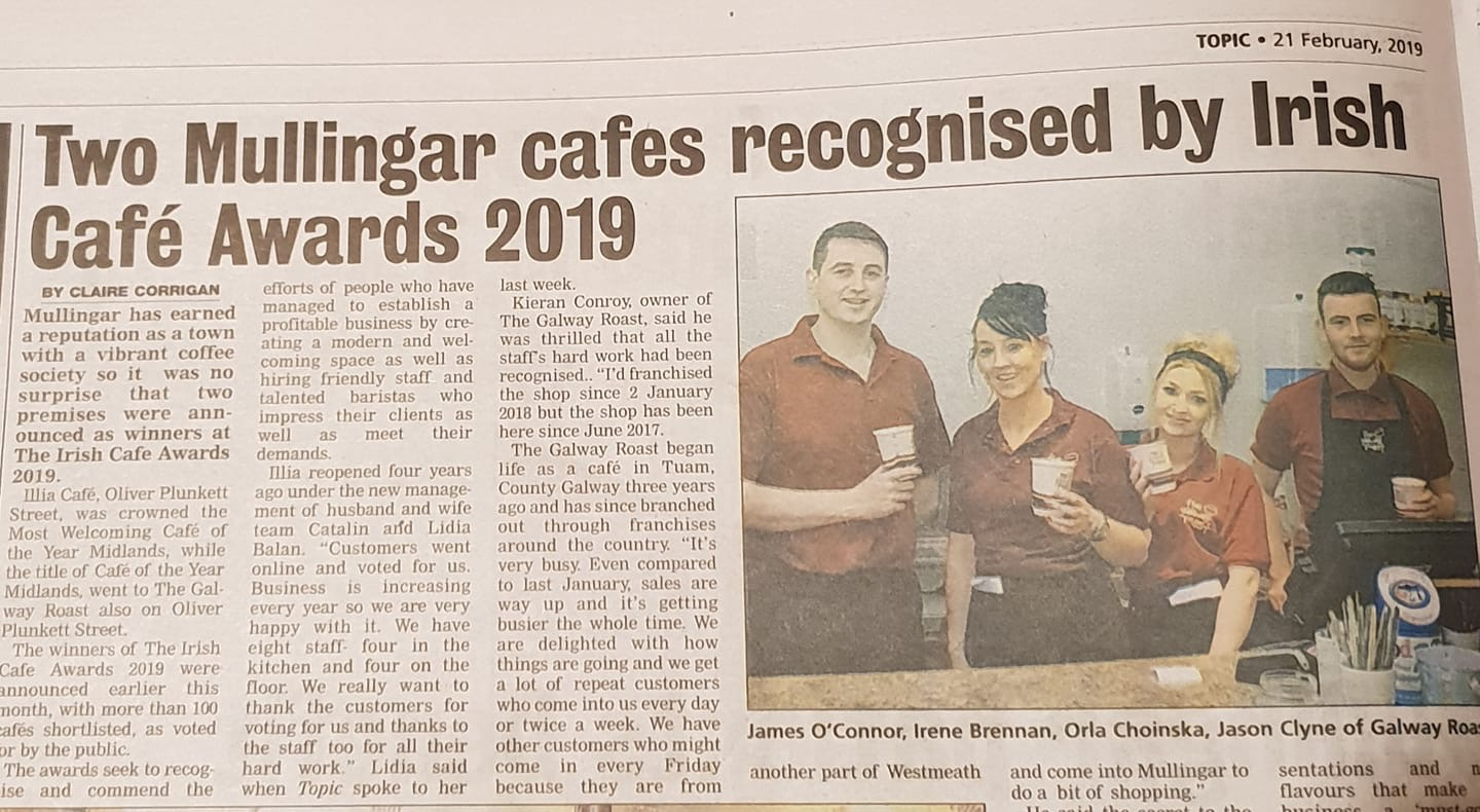 Two Mullingar cafes recognised Cafe Awards 2019